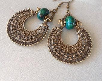 Bohemian earrings, hippie chic, blue green chrysocolla and bronze metal.