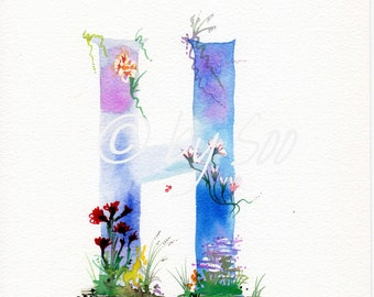 Letter H Watercolour Monogram Print