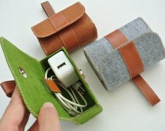 Set of 3 Charger&Cable Storage Bag, Felt Charger Holder, Cable Winder, Traveller Gadget Organizer, Valued Set, Magnetic Closure, Simplify Me
