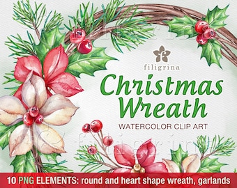 Christmas WATERCOLOR Clip Art. Garland, frame, banner. Flowers, holly. Winter holiday Wreath noel designs. 10 PNG elements. Read about usage