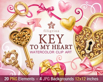 KEY romantic WATERCOLOR Clip Art. Golden lock, heart, bow, curly line, ribbon banner, gift tag. 20 elements, 4 backgrounds. Read about usage