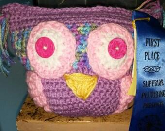 Award winning Crochet stuffed owl - nursery decor - toy