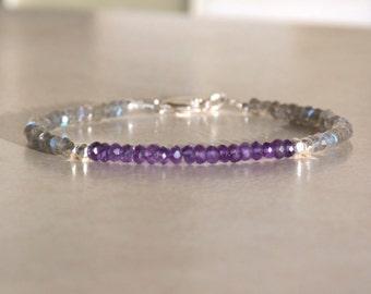 Amethyst Birthstone Bracelet, Amethyst Bracelet, February Birthstone, Karen Hill Tribe Silver, Gemstone Bracelet, Birthday Gift For Her
