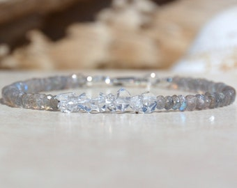 April Birthstone Bracelet, Herkimer Diamond, Stacking Labradorite Bracelet, Natural Gemstone Bracelet, Birthday Gift For Her, Under 50