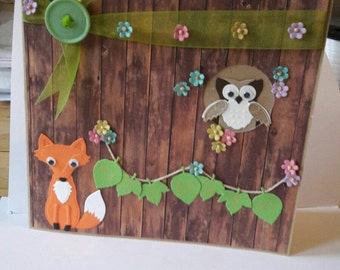 Handmade greetings card woodland animals and leaf bunting