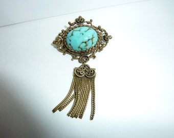 "Turquoise Brooch Vintage 1 1/2"" x 2 1/2"""