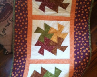 Fall-AutumnTable Runner-Twister,Quilted,home decor,Kitchen,Dining, purple, gold, orange