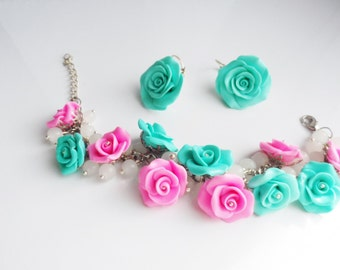 bracelet and earrings of roses