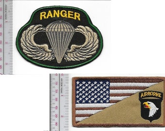 Ranger US Army 101st Airborne Division Airmobile ABN & Ranger Parachutist Wings
