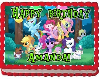 My Little Pony 1/4 Sheet Edible Photo Birthday Cake Topper. ~ Personalized!