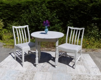 NOW SOLD ****Bistro Table and Two Chairs, Shabby Chic. Old white.