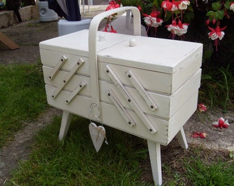 1960's Shabby Chic Cantilever Sewing Box