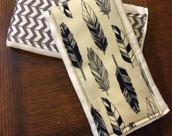 Feather and Chevron Burp Cloths