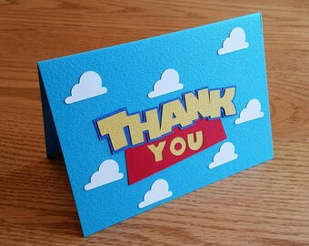 Toy Story Thank You Note, Toy Story Insprired Thanks - Handmade, diecut, cardstock, thank you