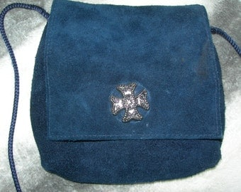 Vintage Suede  Navy Blue Bag, small across body Bag, Small blue bag, Bag  with cross,Gift for her