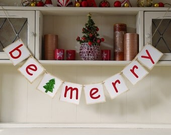 Be Merry Bunting Christmas decor
