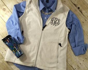 Monogram Fleece Vest | Monogram Vest | Monogram Womens Vest | Monogram Womens Outerwear | Fall Monogram Vest