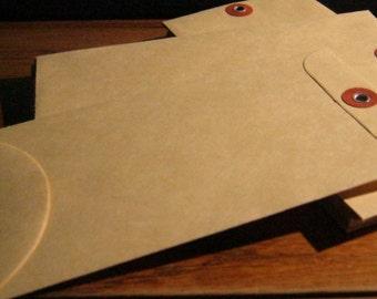 Vintage Manila Envelopes 6 1/2 x 3 5/8   10 pcs Mixed Media Office Supply Papercraft