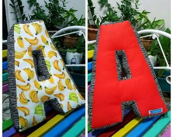 Pillow, Alphabet Letter Pillow, Single Letter Fabric Cushion - Any Custom Letter A