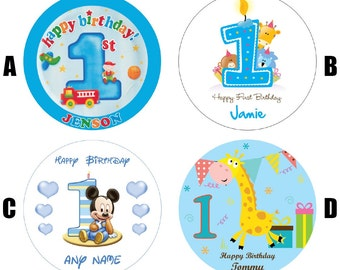 "1st Birthday Boy 7.5"" Edible Birthday Cake Topper Decoration Personalised"