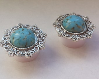 Romantic ear plugs turquoise silver