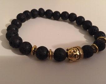 Lava Rock Buddha Bracelet