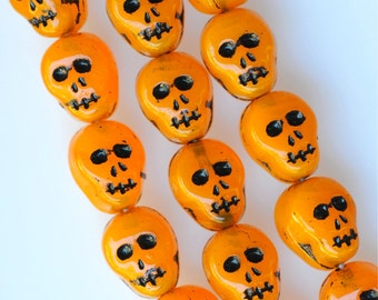 Czech Glass Skull Beads - 12mm x 9mm - Halloween Beads - Various Colors - Qty 10 or 25