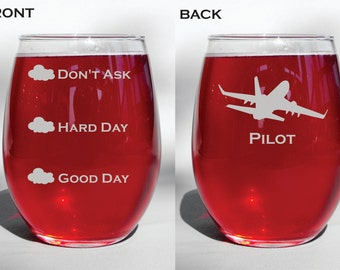 Personalized Custom Deep Engraved Pilot Funny Good Day Hard Day Don't Ask Stemless Wine Glass, Beer Mug, Pilsner Glass, Coffee Mug, Gift