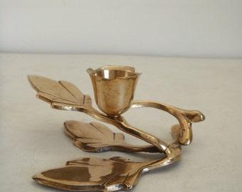 Vintage brass floral candle holder / metal leaf candle stand