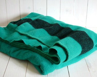 Vintage green and black striped wool blanket / large heavyweight camp throw