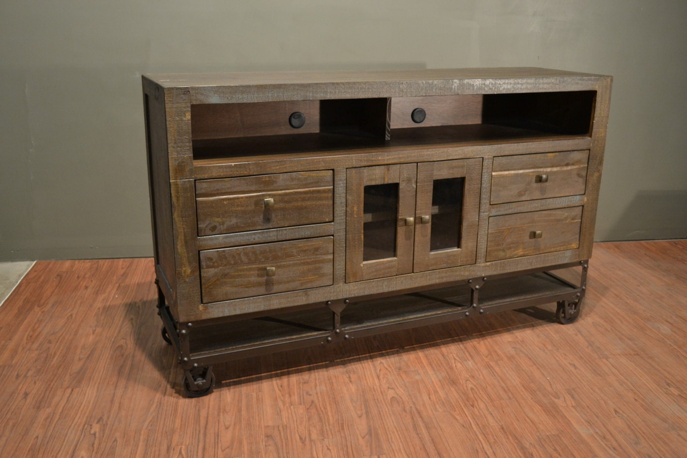 industrial rustic reclaimed wood tv stand media console on. Black Bedroom Furniture Sets. Home Design Ideas