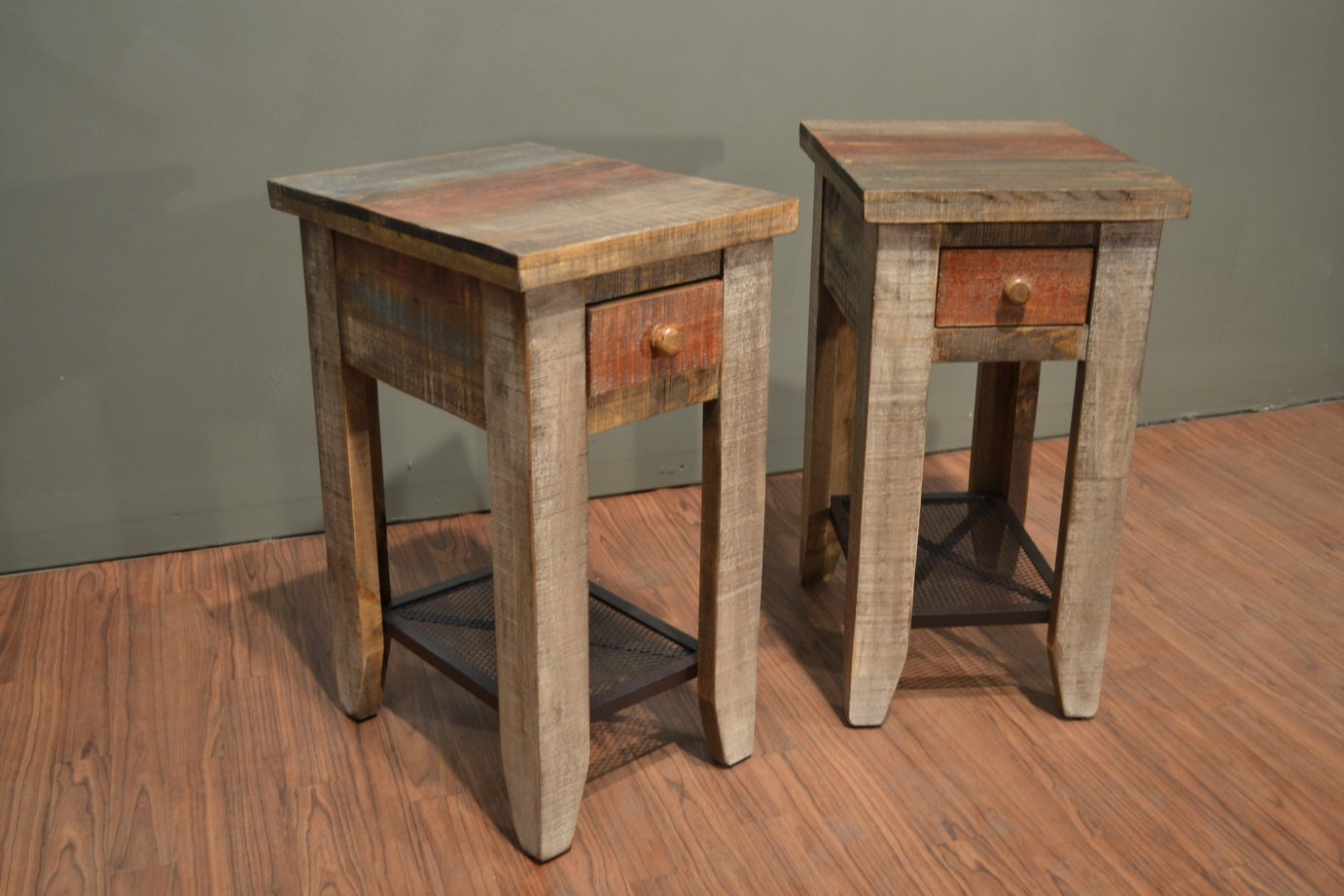 Rustic Wood Side Table ~ Pair of rustic solid wood side table with drawer end