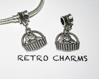 Sterling Silver Basket Kitty Retro Charm