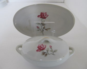 Vintage Rose Toy vegtable dish and plate - Red Crane Marking