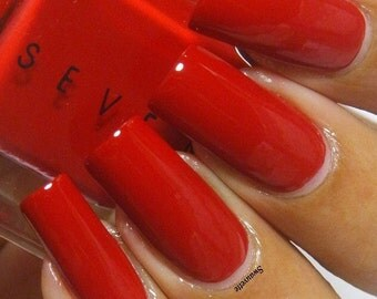 Seven Nail Lacquer - Deep Classic Red Jelly Indie Nail Polish