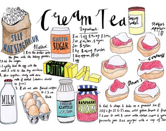 Hand Drawn Illustrated Cream Tea Recipe
