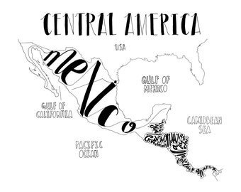 Hand Drawn Typography Map of Central America