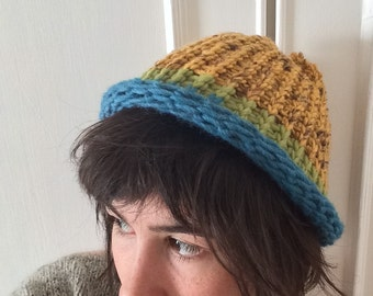 Yellow, green and blue hat