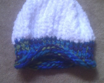 White, blue, purple, green and turquoise hat