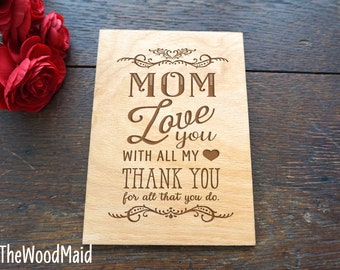 Mother's Day Card Love Thank you Mom Card Birthday Valentines Day Card Wood greeting card for Mom Thank you Card for Mom and Dad at Wedding