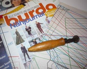 Vintage Tool Cutter for Garment Patterns, Old Wooden and Metal Tool Cutter from 1970s