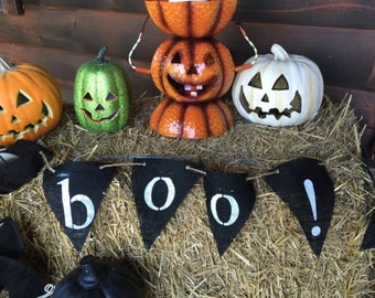 Handpainted BOO! Halloween Burlap Banner