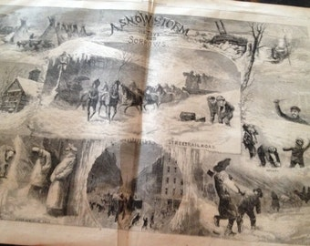 Harpers Weekly 1873 A SnowStorm Its Joys and Sorrrows