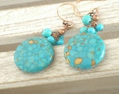 Boho Turquoise Gold-Speckled Round Bead Earrings - Cluster
