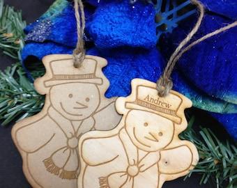 Snowman Wood Ornament, Laser Engraved, Christmas Ornament, First Christmas, Custom Ornament
