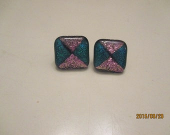 Large square dichoric glass earrings