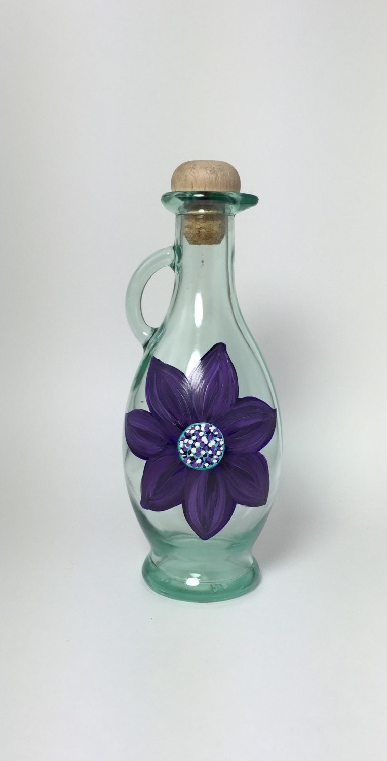 Oil and vinegar glass bottle hand painted by for Hand painted glass bottles