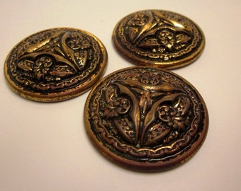 Bronze Buttons/Lot of 3 large vintage metal buttons/lots of fleur de lis/metal buttons/jewelry supplies/coat buttons/collectible/sewing supp
