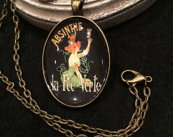 "Vintage French Absinthe Green Fairy ""La Fee Verte""  Bronze or Silver Pendant Necklace Gothic Victorian"
