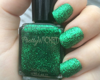 Metallic Green Glitter Nail Polish, Holiday Nails, Green Nail Polish, McKenna Polish, Glitter Nail Polish